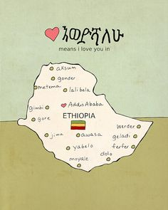 Children Decor Wall Art Map // I Love You in Ethiopia// Nursery Art Illustration Travel Poster  INTRO // This was originally commissioned as a custom order by a couple who were adopting a child from Ethiopia. They wanted him to have a special reminder of his home country in his nursery. That lovely and super sweet sentiment is embodied in this lovely artwork. Perfect to add educational art to kids room or any room at all. This is a high quality giclee print of a...