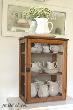Ironstone!!  Faded Charm: ~Primitive Pie Cupboard~ Love this blog!