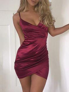 Ruched Crisscross Wrap Mini Slip Dress