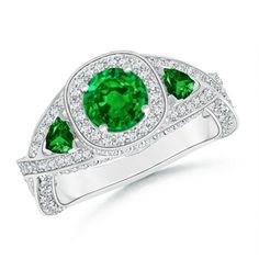 Angara Natural Emerald Diamond Halo Engagement Ring in Yellow Gold