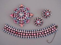 Schreiner brooch earrings and necklace