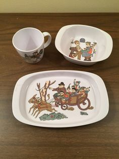 Noritake Melamine Childu0027s Bowl Plate and Cup Pinocchio $30.00 & Vintage Mickey Mouse Melamine Plate and Bowl Set by Walt Disney ...