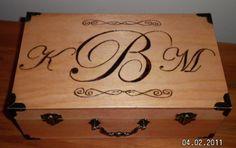 Wood Burned Memory Box with Monogram - Medium. $40.00, via Etsy.