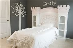 Castle Bed from two small narrow bookshelves with molding: good for fairy tale themed room