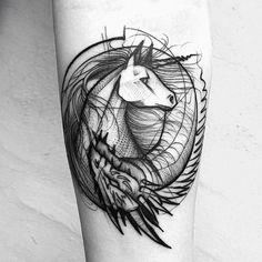 Unicorn and dragon forearm design