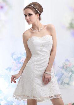 Luxurious-Elegant Short/Mini Strapless A-Line Wedding Dress