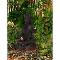 """Lamps Plus $149 Aged Bronze Buddha LED Indoor/Outdoor Fountain  24""""H x 19x19"""""""
