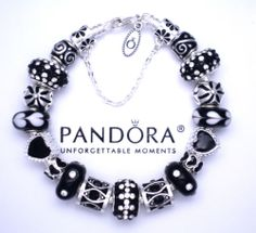 Authentic Pandora Silver Charm Bracelet Black Crystals Love Hearts | eBay