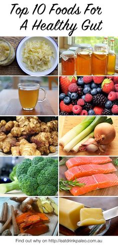 Top 10 Foods For A Healthy Gut - dairy free sources of probiotics, pre-biotics and foods that make your friendly bacteria happy. Check out why these foods are good for your gut flora here: http://eatdrinkpaleo.com.au/top-10-foods-healthy-gut-guest-post/