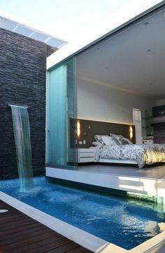 Great Modern Bedroom Design that Will Inspire You. Modern bedroom design should be planned well. It relates to mattress, furniture, accessories, lighting, etc. Here are some best design ideas for your modern style bedroom. Modern Bedroom Design, Contemporary Bedroom, Modern House Design, Bedroom Designs, Modern Bedrooms, Trendy Bedroom, Modern Houses, Backyard Pool Designs, Swimming Pool Designs