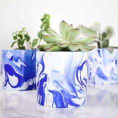 Make these gorgeous marbled planters to display your favorite succulents!