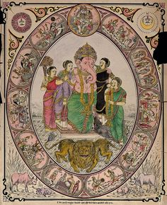 Ganesha with his two wives and two female attendants, his rat and a lion with two heads all surrounded by roundels. Coloured transfer lithograph by Janaradna Vasudtya.  Iconographic Collections
