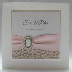 Classica Wedding Invitation, Handmade, Pink, Classical, Cameo