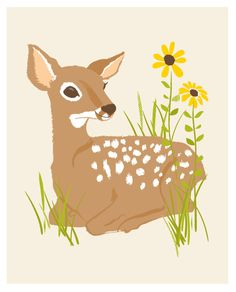 fawn deer - woodland art print 8x10. $15.00, via Etsy.