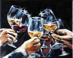 Wine Glasses Still Life Oil Painting on Canvas Miniature Wall Decor. $60.00, via Etsy.