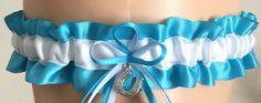 Turquoise and White Wedding Garter, Bridal Garter, Prom Garter