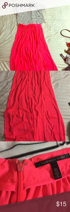 Maxi skirt Beautiful bright coral maxi skirt, side slit mid thigh, zip and hook closure on back. Has only been worn a couple of times Victoria's Secret Skirts Maxi