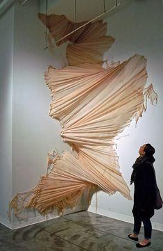 This is such a gorgeous way to view textiles. Carlie Trosclair pours fabric down the wall. Land Art, Modern Art, Contemporary Art, Instalation Art, Soft Sculpture, Metal Sculptures, Abstract Sculpture, Bronze Sculpture, Art Plastique