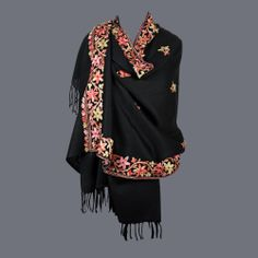 Featuring this Black Parsi Aari Work Wool Stole in our wide range of Stoles. Grab yourself one. Now!