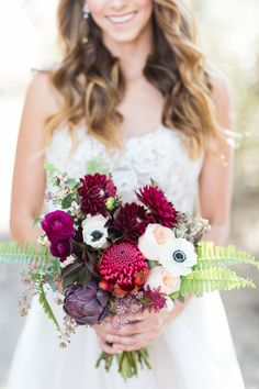 This Organic Jewel Tone Wedding Inspiration from Koman Photography features a burgundy bouquet and a gold bar cart. Flower Bouquet Wedding, Floral Wedding, Wedding Colors, Wedding Ideas, Flower Bouquets, Autumn Wedding, Summer Wedding, Dream Wedding, Burgundy Bouquet