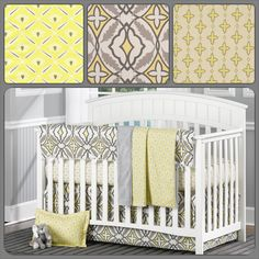 NEW!! Eden Lemon Yellow and Gray Crib Bedding from Liz and Roo!! Perfect for your Gray and Yellow Nursery. See it at www.LizandRoo.com