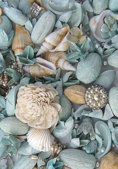 Blue seashells and jewels