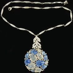 Trifari 'Alfred Philippe' Blue and White Moonstone Fruit Salads Cluster Pendant Necklace