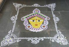 Rangoli Freehand Rangoli: Navarathri durgaashtami by ashajnan Mehendi, Diwali, Cool Designs, Dots, Color, Stitches, Colour, Mehndi, Colors