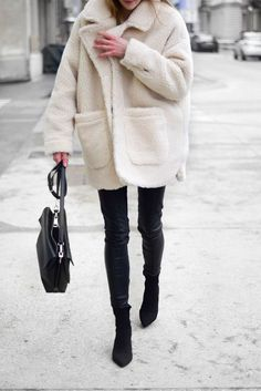 602a51eaad4 white cozy sherpa coat with black jeans and boots. Visit Daily Dress Me at  dailydressme