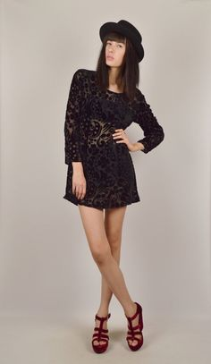 Sheer Black Velvet Floral Mini Dress by StellarVintique on Etsy