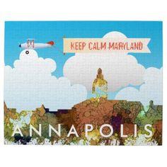 #Annapolis Maryland Skyline SG - Safari Buff Jigsaw Puzzle - #keepcalm