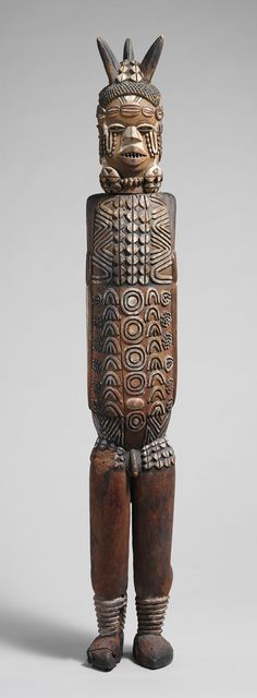 Africa | Three-Headed Standing Figure, from the Kuyu peoples of the Congo River Basin region of the Republic of Congo | 19th century | Wood and pigments.  See too the following site for additional African mask images and information: http://www.zyama.com/index.htm