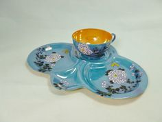 Hey, I found this really awesome Etsy listing at https://www.etsy.com/listing/229392446/blue-lusterware-snack-set-dahlia-flower