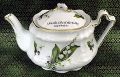 Tea pot with beautiful bible verse,  I Am the Lilly of the Valley