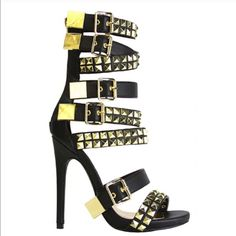 e64b2863f1 Navaeh Sexy Black Gold Studded Multi Strap Heels Cloth Bags, Types Of Shoes,  Strap
