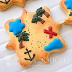 perfect for your Gasparilla party. Summer Cookies, Cookies For Kids, Fancy Cookies, Iced Cookies, Cute Cookies, Royal Icing Cookies, Cupcake Cookies, Cupcakes, Cookie Designs