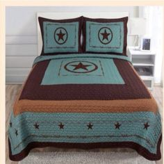 Quilt - Western Style 3Pc Quilt Bedspread Comforter Set - Turquoise