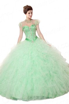 Classic Ball Gown Sweetheart Basque Train Tulle Sage Green Cap Sleeve Lace Up-Corset Quinceanera Dress with Jack-Bolero and Crystals COLT14036 $279.00  Quinceanera Dress, Quinceanera Dress, Quinceanera Dress, Quinceanera Dress