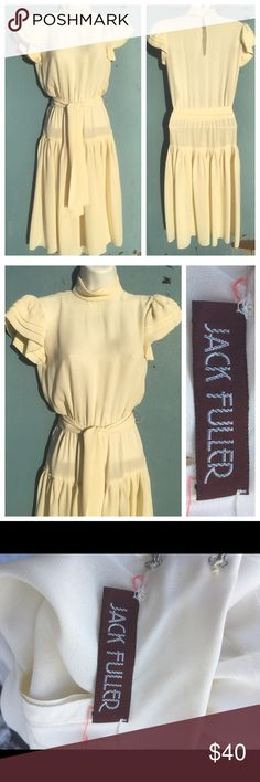 VINTAGE High Collar Dress 3rd picture shows actual color ☀️ in 1st 2 photos make it look ivory Authentic Original Vintage Style Dresses Midi