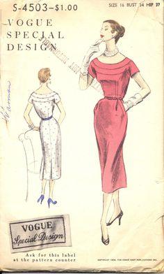 Vintage 1950's Womens Dress Pattern, Vogue 4503 Sewing Pattern, Size 16