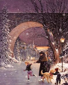 Christmas Art by Douglas Laird Old Christmas, Christmas Scenes, Vintage Christmas Cards, Christmas Pictures, Christmas Greetings, Christmas Holidays, Christmas Tables, Nordic Christmas, Modern Christmas