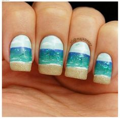 sand and water and sky nail art
