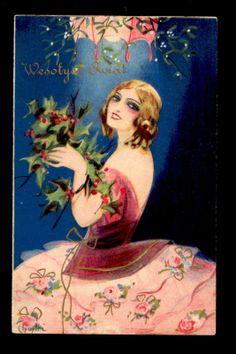 Mint Chiostri Christmas Glamour Lady Under Mistletoe Art Deco Beauty Postcard | eBay
