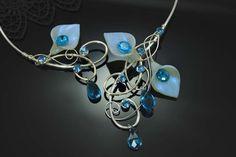"IN STOCK Calla Lily Torc Neckpiece ""Pure Aqua"" Wedding Bridal Special Occasion Nature Inspired Silver Porcelain. $79.99, via Etsy."