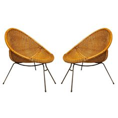 Pair of Wicker and steel frame Armchairs by Vittorio Bonacina ca.1958 | From a unique collection of antique and modern armchairs at http://www.1stdibs.com/furniture/seating/armchairs/