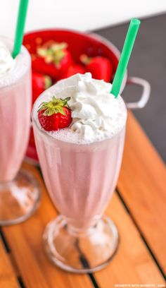 Healthy Homemade Strawberry Frappuccinos!  Just like Starbucks -- thick, creamy, sweet and full of berry flavor -- but without all the refined sugar and artificial ingredients [refined sugar free, low fat, high protein, gluten free]