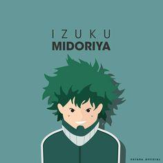 Izuku Midoriya from Boku No Hero Academia Hero Name : Deku Quirk : One for All  #flat #vector #minimalist #anime #bokunoheroacademia