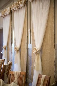 Burlap and ribbon backdrop.