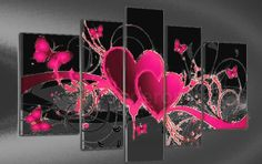 Pink Love, Price: $389.00, Shipping: Free Shipping, Size of Parts: 30cm x 50cm x 2 panels + 25cm x 70cm x 2 panels + 25cm x 80cm x 1 panel, Total Size (W x H): 135cm x 80cm, Delivery: 14 - 21 Days, Framing: Framed & Ready to Hang! Huge Online Gallery - have a browse!  http://www.directartaustralia.com.au/