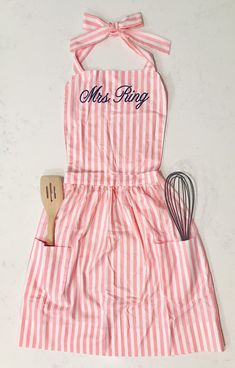Perfect Pink Striped Apron - Personalized Embroidered- Crafty or Kitchen Girls - All size women - Great Bridal or Hostess Gift - New Hom by SoSallyEmbroidery on Etsy Kitchen Aprons, Perfect Pink, Large Women, Groomsman Gifts, Hostess Gifts, Great Gifts, Rompers, Crafty, Summer Dresses
